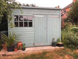 Garden shed with a concrete base